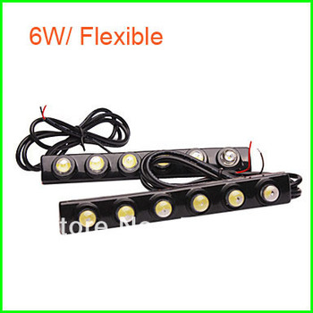 Free Shipping 6W 2x6LED SMD 3M Stick Flexible LED Daytime Running Light, IP65 DRL025/q7 led daytime running lights