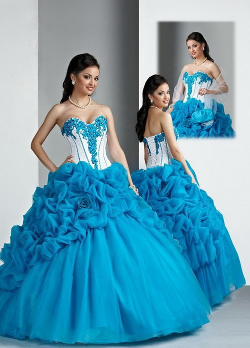 2015 ! New arrival! blue white princess elegant flowers beaded ball gown prom dress Quinceanera Dresses - Fashion Wedding Dress store