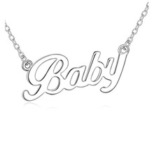 2014 new fashion simple glossy letter pendant necklace Baby 292(China (Mainland))