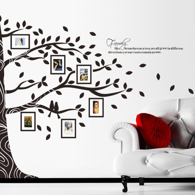Стены большой 257 * 200 см 3D DIY фото дерево пвх наклейки на семья s искусства настенной росписи домашнего декора