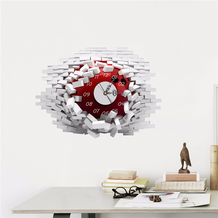 2016 PAG STICKER 3D Wall Clock Decals Collapsed Wall Clock Sticker DIY Home Wall Decor Gift(China (Mainland))