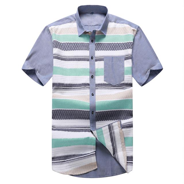 Новинка летние мужчины рубашки с коротким рукавом 2016 свободного покроя рубашки ...