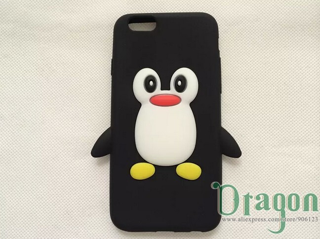 10pcs/lot Hot Selling Cute 3D Cartoon Penguin Soft rubber Silicone Silicon Gel back case skin cover for Apple iPhone 6 4.7 inch(China (Mainland))