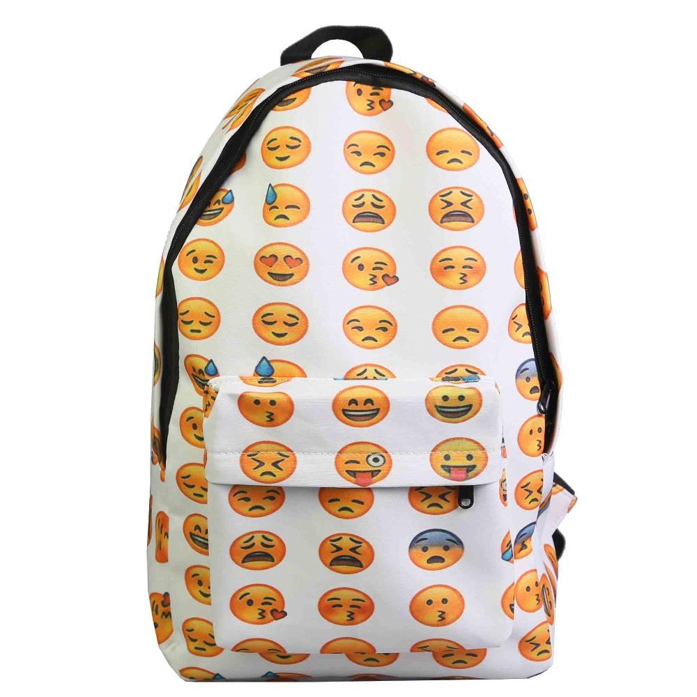 2015 High Quality Women Canvas Backpacks Smiley Emoji Face Printing School Bag For Teenagers Girls Shoulder