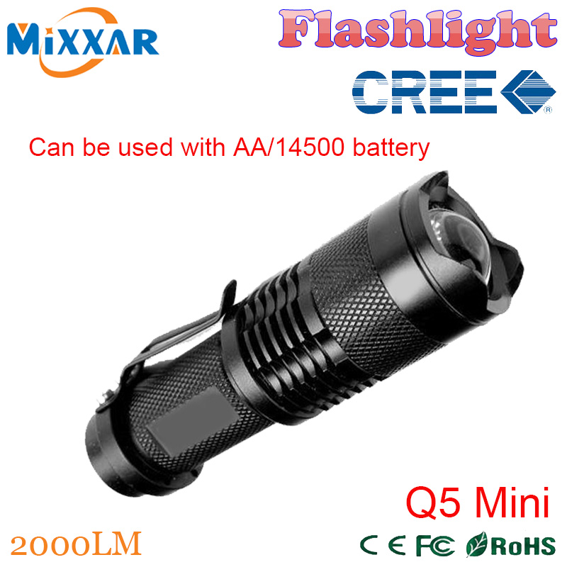 ZK92 Q5 Mini CREE Black 2000LM Waterproof LED Flashlight 3 Modes Zoomable LED Torch penlight Free Shipping(China (Mainland))
