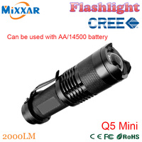 ZK91 CREE Q5 Mini Black 2000LM Waterproof LED Flashlight 3 Modes Zoomable LED Torch penlight Free