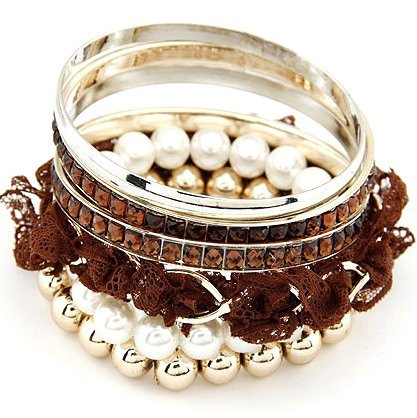 Artilady  new pearl with rhinestone bangle set 3 colors bracelets  fashion jewelry for lady