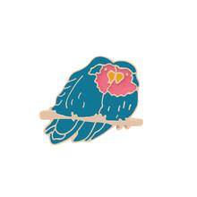 9 Gaya Fashion Kartun Logam Pin Lencana Hewan Bros Lucu Biru Merah Kuning Burung Topi Koboi Sweater Aksesori Wanita Anak hadiah(China)