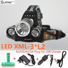 Led phare xm - l 3 * L2 9000LM LED Rechargeable Headlamp lampe de Camp en plein air lampe frontale + Ac / Usb / chargeur de voiture + 18650 batterie(China (Mainland))