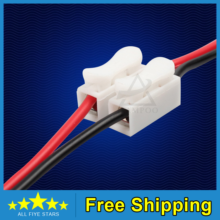 Free shipping Hot Sale 20Pcs 2P Spring Connector LED Strip Light Wire Connecting No Welding No Screws(China (Mainland))
