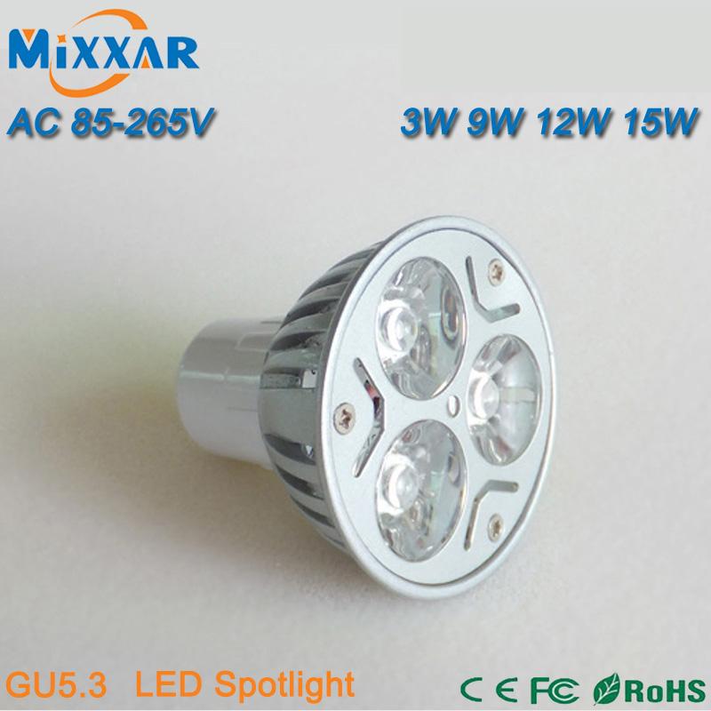 ZK35 LED Bulbs Lights 3W 9W 12W 15W 85-265V 110V 220V GU5.3 MR16 Dimmable LED Spotlights Lamp LED Downlights ceiling Lights(China (Mainland))