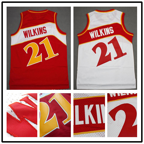 Fast Dominique Wilkins Jersey #21 Basketball Jersey, Throwback Rev 30 Embroidery Retro