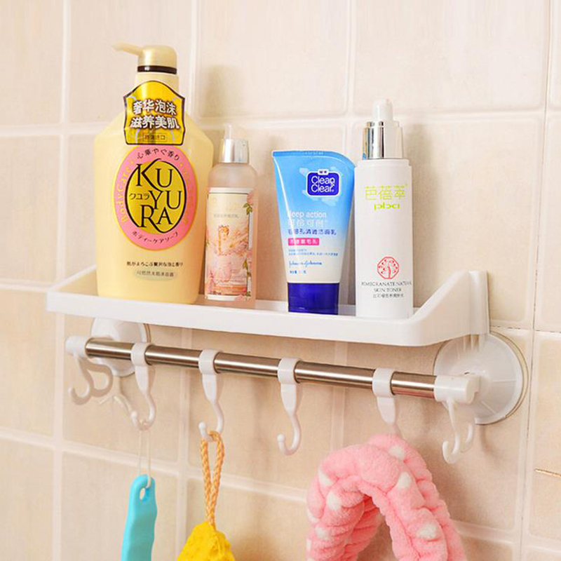 Multifunctional powerful vacuum suction rack plastic shelf for bathroom cup towel and place tool for daily use rail hook storage(China (Mainland))