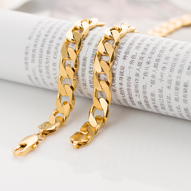 Punk mens Heavy metal chain long 24 inches thick 12mm solid cuban chain 88 grams 18K yellow gold filled large necklace wholesale(China (Mainland))