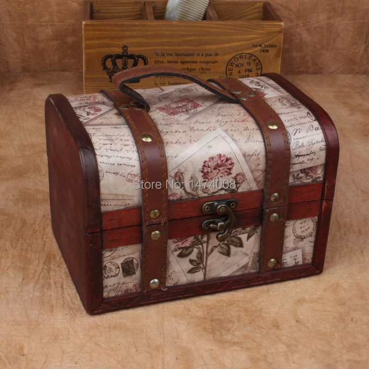 Free shipping vintage style handmade wooden box chinese for Vintage wooden storage boxes