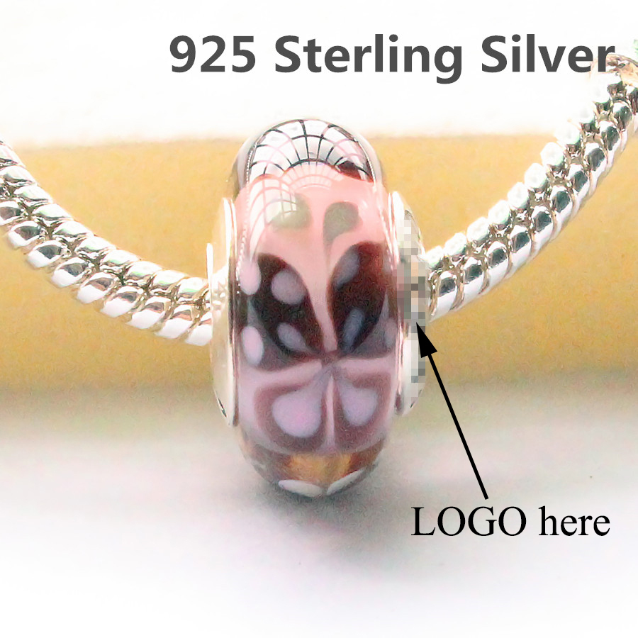 100% 925 Sterling Silver  butterfly CHARM murano glass bead fit Pandora style charms bracelet jewelr 2 color(China (Mainland))