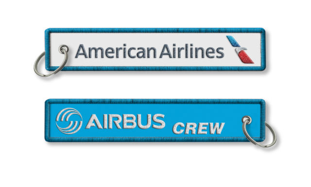 American Airlines Airbus Crew Embroidery Keychain Keyring Key Ring Key Chain Key FOB Embroidered Key Chain(China (Mainland))