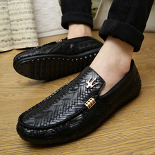 New spring summer men loafers slip-on casual leather boats platform sport driving shoes breathable moccasins flats Z029