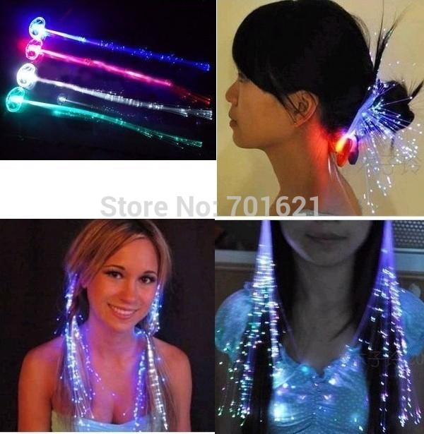 1200pcs/lots LED Light Hair Flashing Hairpin tire color fiber Luminous braid Party Festival Bar Party Fun items free shipping(China (Mainland))