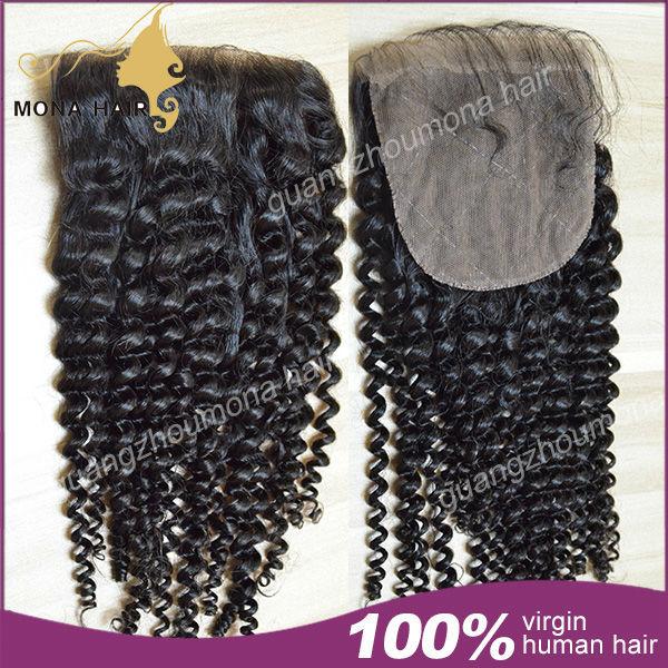 FREE SHIPPING size 4*4 Silk Base Closure Brazilian Hair Kinky Curly 100% Human Hair closure No Shedding No Tangle Top closure<br><br>Aliexpress