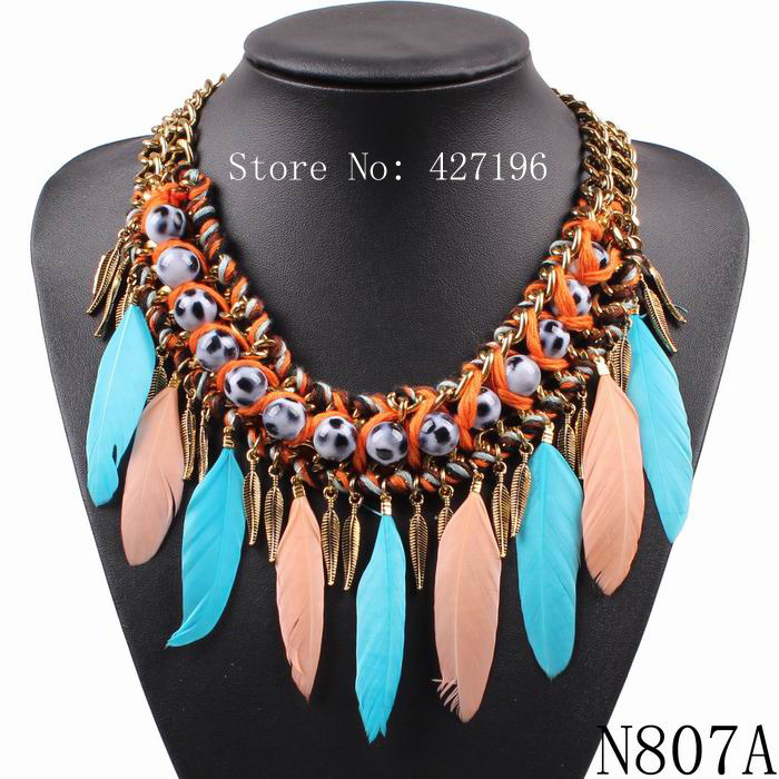 2016 new fashion hand make choker necklace feather tassel necklace & pendant costume design pendant chunky statement necklaces(China (Mainland))
