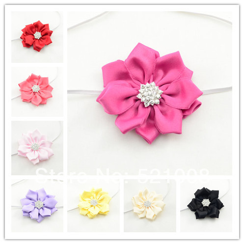 Wholesale Baby Satin Flower Headband for Girls Ribbon Flower Elastic Headband with Rhinestone for Infant Newborn Toddlers 200pcs(China (Mainland))