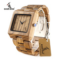 BOBO BIRD L26 Square Zebra Wood Bamboo Quartz Watch Men s Top Casual Brand Watch relogio