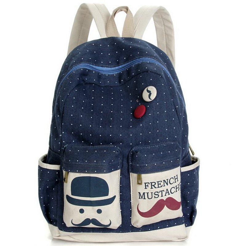 New 2016 Fashion Women Backpack Candy Color Famous Brand Beard School Bag For Women Casual Dot Big Mustache Backpacks MI6544(China (Mainland))