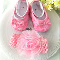 Kids little pink flowers Shoes Girl Princess Lace Headband Cute Infant Girl Toddler Shoes Set Newborn