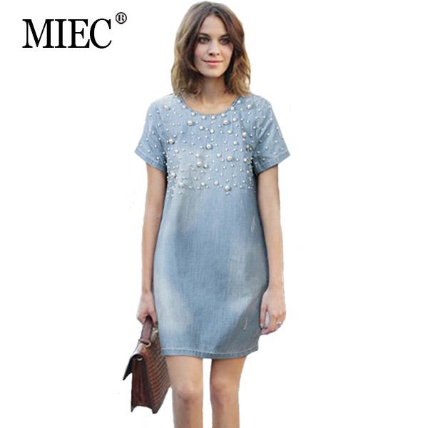 MIEC spring 2016 women denim dress Fashion Inlaid pearl loose causal slim jeans female plus size 4XL 5XL - Apparel Co., Ltd. store