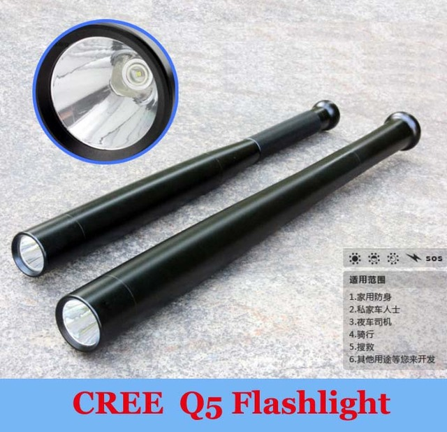 Wholesale 2pcs/lot, New CREE Q5 250 Lumens 3 Mode LED  Flashlight For Camp Self-defence 3 AAA /1x 18650