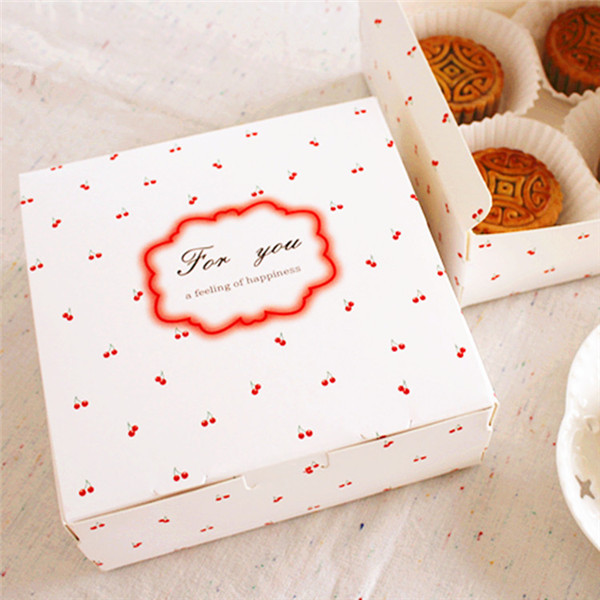 Free shipping small cherry decoration cake box donuts dessert biscuit package boxes bakery gift packing supply favors candy box(China (Mainland))