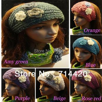 2pieces/lot 3 Flowers Wool Pattern Widened Crochet Head Hair Band Headwrap