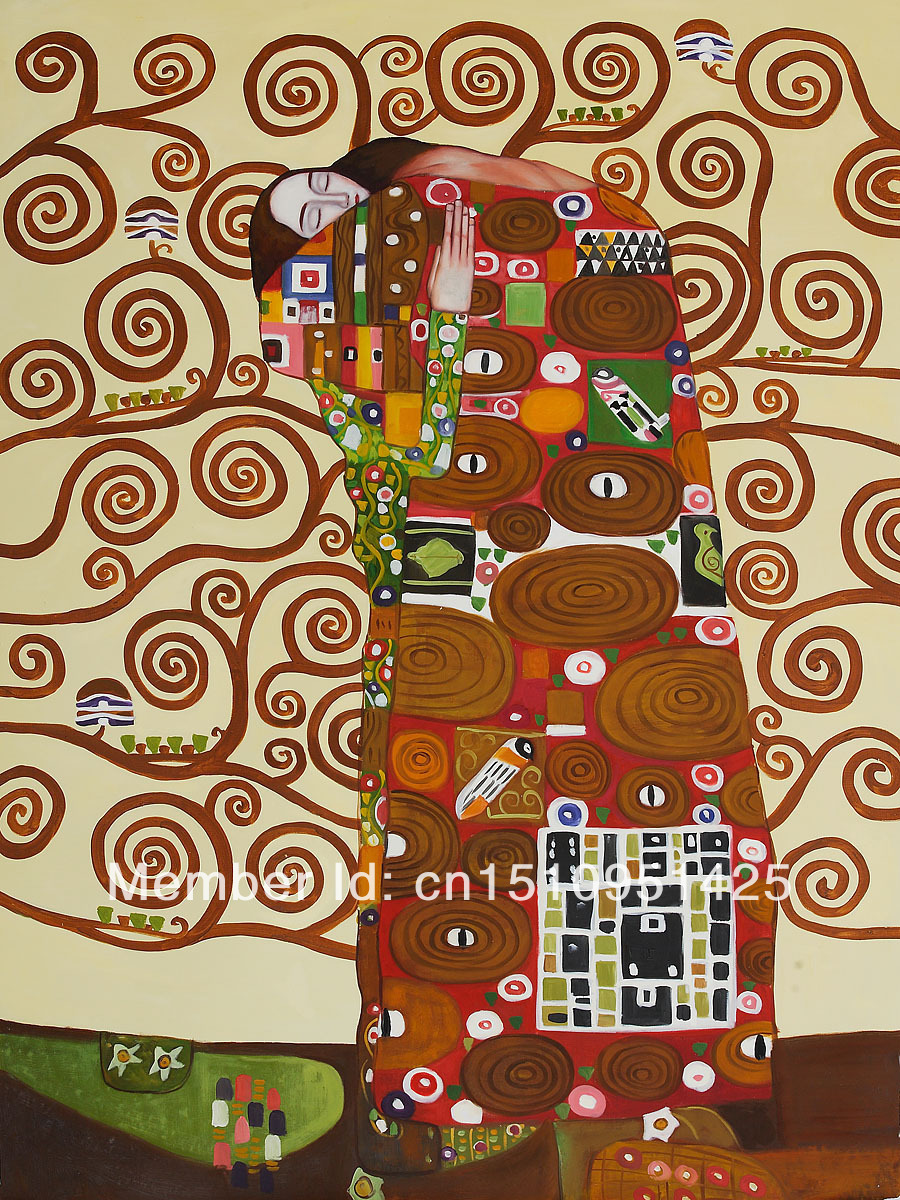 Fulfillment (The Embrace) by Gustav Klimt - high quality oil paintings reproduction(China (Mainland))