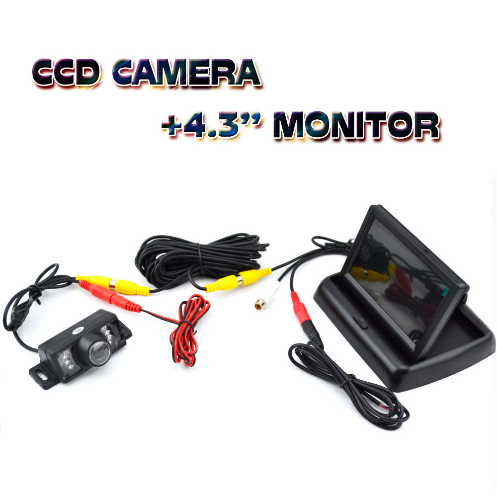 12 V Led Night Vision Backup Rearview Waterproof CCD Car Parking Camera With 4.3 Inch TFT LCD Color Auto Reverse Monitor(China (Mainland))