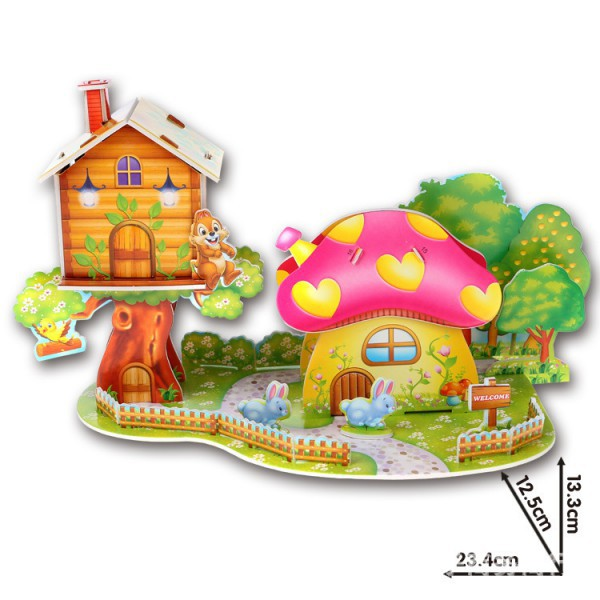 Lovely Cartoon Castles 3D DIY Jigsaw Puzzle Wisdom Baby Kids Educational Toys Fun(China (Mainland))