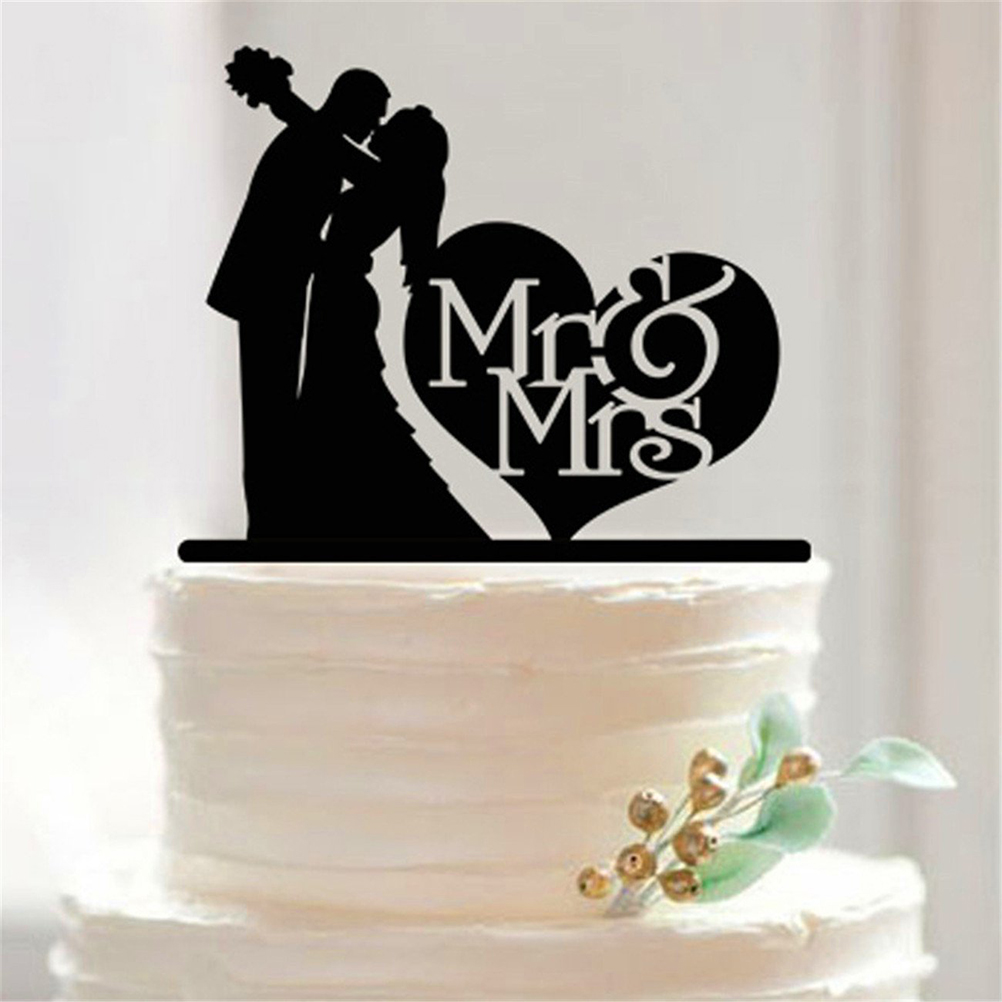2016 Free Shipping MR & Mrs Acrylic cupcake cake topper birthday cake accessories party supplies(China (Mainland))