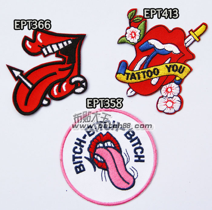 Hot Selling ! 2015 NEW Embroidery Music Rock Band Patches Big tongue lips Patches Iron on 3PCS Heavy metal rock band(China (Mainland))