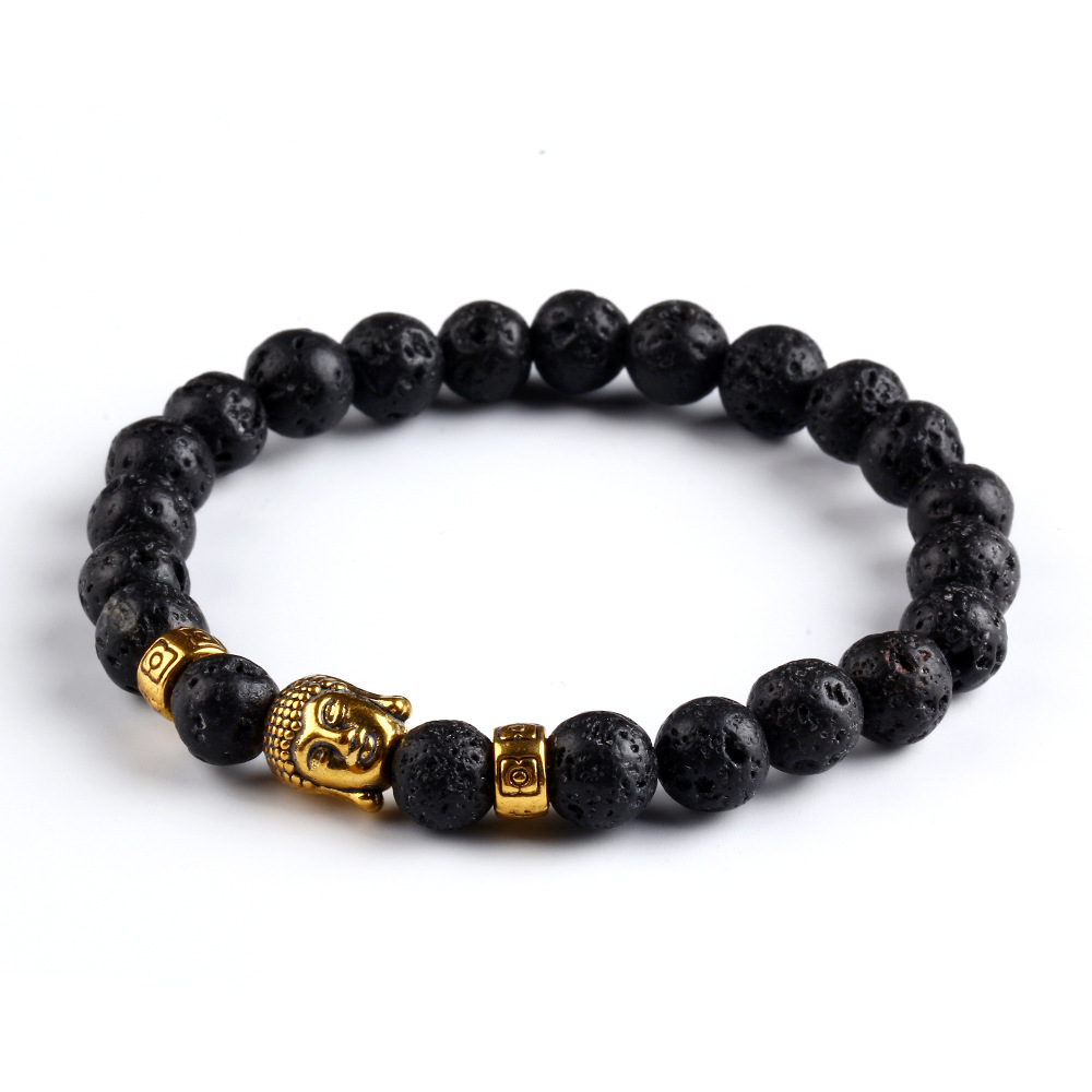 2016 black natural lava rock bracelets gold plated buddha for How to make rock jewelry