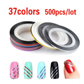 500pcs 37colors Hot Metallic Yarn Line Rolls Striping Tape Adhesive 3D Nail Art Beauty Sticker Decoration