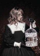 2017 Summer New Arrival Vintage Lolita Darkness Vampire Design Women Peter Pan Collar Lantern Sleeve Black Dress Female Robe(China (Mainland))