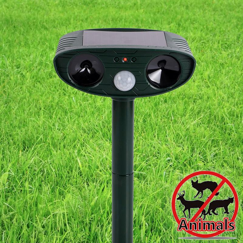 Solar Power Ultrasonic Signals Animal Repeller Outdoor Bird Mouse Expeller Green(China (Mainland))
