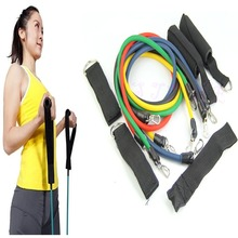 U95″Free Shipping 11pcs Latex Resistance Bands Tubes GYM Exercise Set for Yoga ABS Workout Fitnes