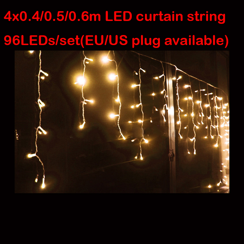 4M 96LED Curtain icicle string Fairy Outdoor Decoration string for Garden XMAS New Year Tree Light Free Shipping(China (Mainland))