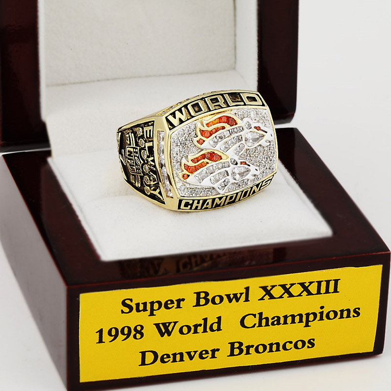 NFL Replica 1998 Denver Broncos XXXII Super Bowl Football Championship Rings Solid Size 10-13 Christmas Fans Best Gift(China (Mainland))