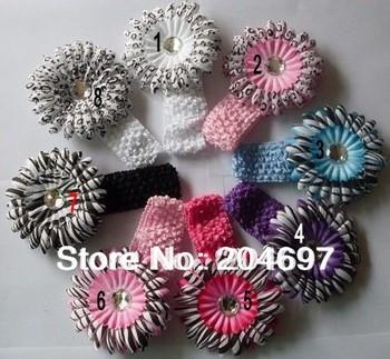 8pcs Toddler Infant Soft Rayon Crochet Stretch Baby Girl Hair Accessories Headband  Gerbera Daisy Flower Headwear