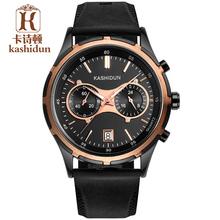 Kashidun genuino nuevos hombres casual de negocios atléticos hombre militar impermeable luminoso reloj de cuarzo de la cinta macho