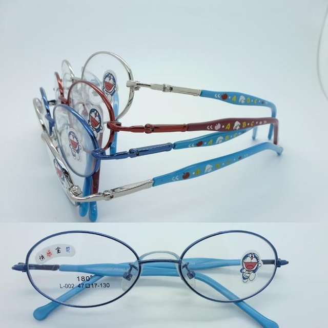 wholesale L-002 children alloy full-rim glass frames with spring hinge and cartoon tip colorful acetate temples eyeglass frames