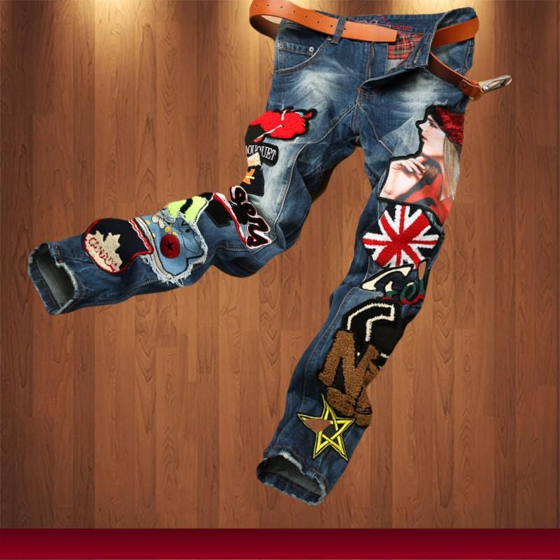 Скидки на 2015 новых людей способа прямые джинсы ткань шить multi отверстие лоскутное и ветер мыть джинсы высокого качества