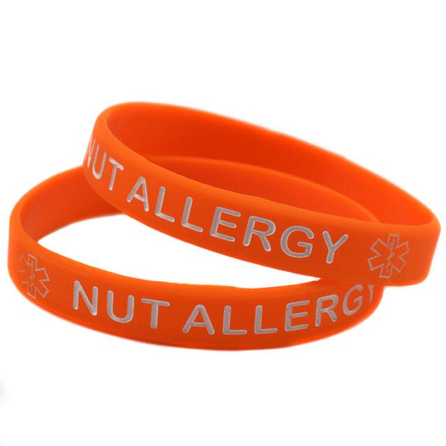 50PCS Lot Nut Allergy Medical Alert Silicone Bracelet